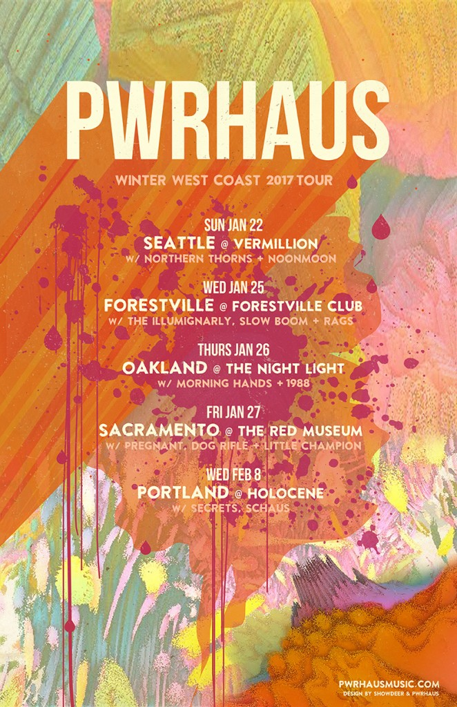 1/22<br />Seattle @Vermillion<br />w/ Northern Thorns + Noonmoon<br />1/25<br />Forestville @ Forestville Club<br />w/ The Illumignarly, Slow Boom + Rags<br />1/26<br />Oakland @ The Night Light<br />w/ Morning Hands + 1988<br />1/27<br />Sacramento @ The Red Museum<br />w/ Pregnant, Dog Rifle + Little Champion<br />2/8<br />Portland @ Holocene<br />w/ Secrets (Aaron from Nurses), Schaus
